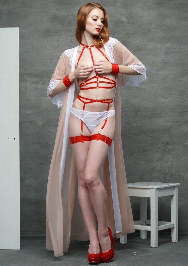 0dbd075792 Red bondage garters by the Flash You and Me brand