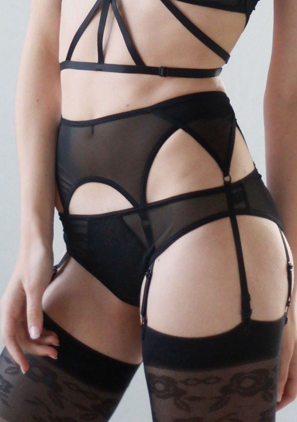 Black six straps suspender belt - Flash You And Me