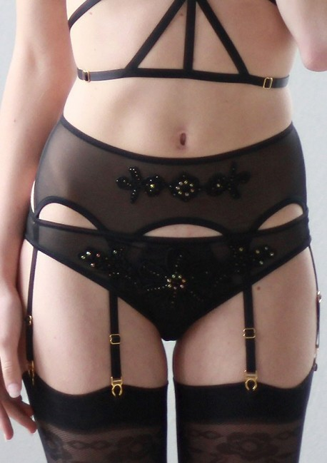 Black lace suspender belt Flash You And Me