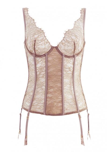 Jardin Impérial glazed chesnut garter corset Jardin Impérial Maison Close