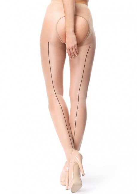 Beige open seam pantyhose - Miss O