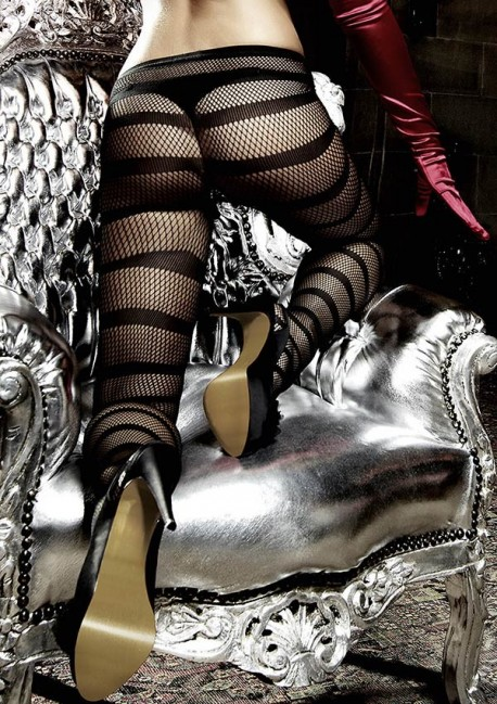 Black fishnet tights with stripes Les originaux Baci