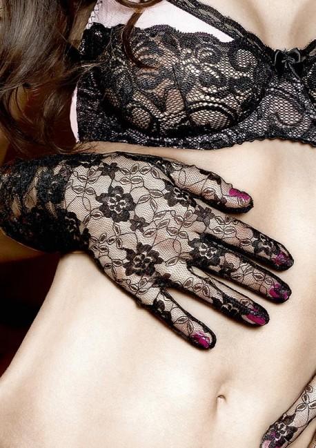 Gants dentelle noire à fleurs Have fun Princess Baci